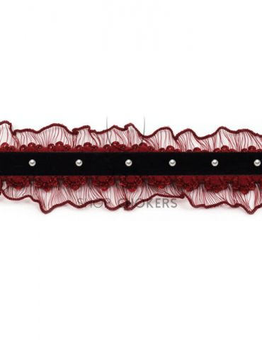 Frillypearlbordeaux Pearl frilly choker Frillypearlbordeaux 1 370x480