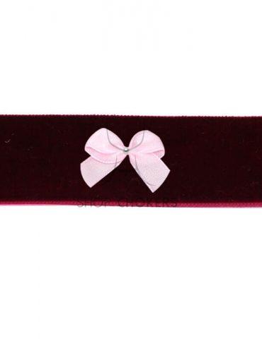 bordeauxpinkbowthick Bordeaux bow thick choker bordeauxpinkbowthick 1 370x480