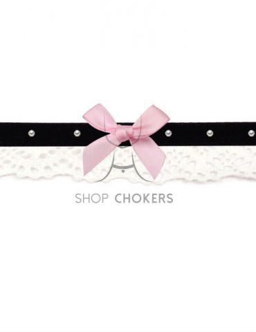 bowpearlpink Lace bow choker bowpearlpink 1 370x480