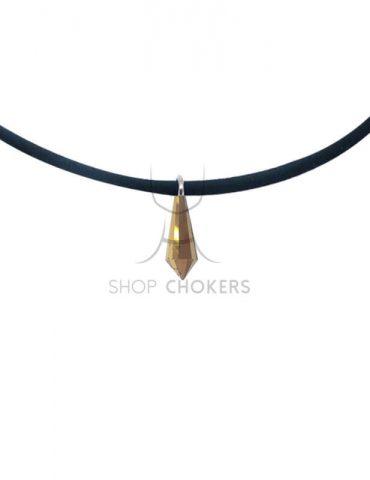 goldcrystal Gold diamond stone thin choker goldcrystal 1 370x480