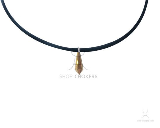 Gold diamond stone thin choker goldcrystal 1 550x440