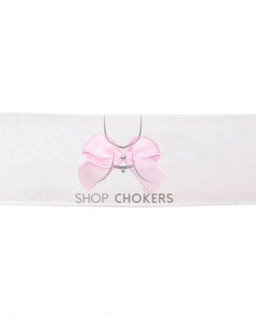 whitethickpinkbow White bow thick choker whitethickpinkbow 1 370x480
