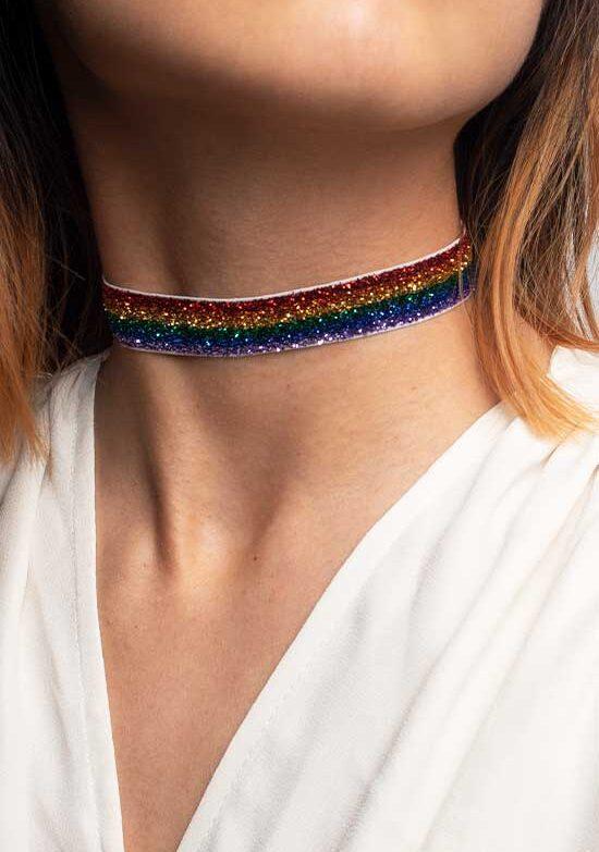 Rainbow glitter choker