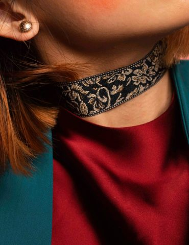 Dark blue embroidery choker – Shop Chokers Dark blue classic embroidery choker IMG 85071 370x480
