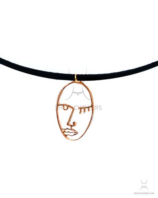 Gold picasso thin choker ShopChokers Product ArtfaceGoldBig2 Thin 550x688