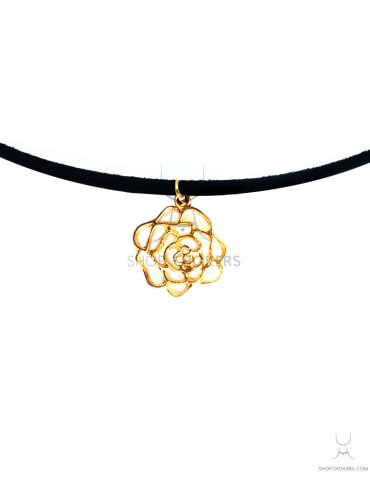 ShopChokers_Product_FlowerDetail Gold flower cindy thin choker ShopChokers Product FlowerDetail 370x480