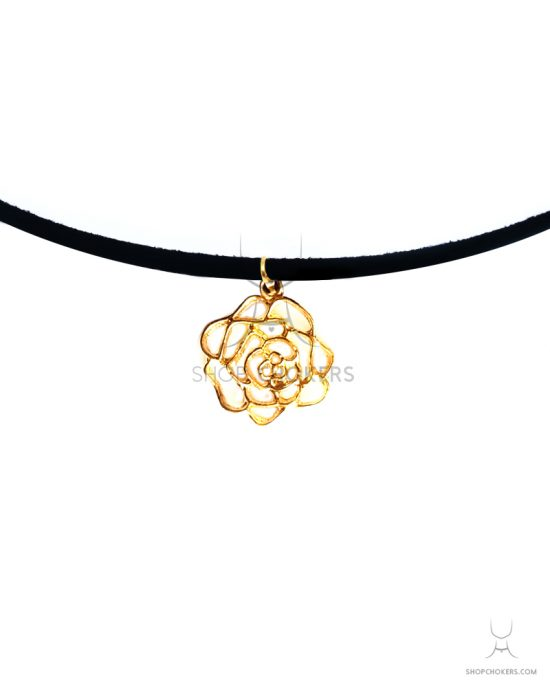 Gold flower cindy thin choker ShopChokers Product FlowerDetail 550x688