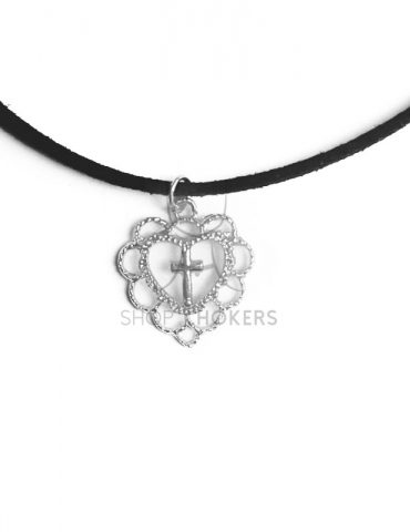 cutecrossthinsilver Cute cross silver thin choker cutecrossthinsilver 370x480