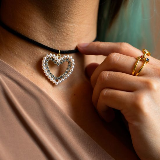 Pearl diamond heart thin choker