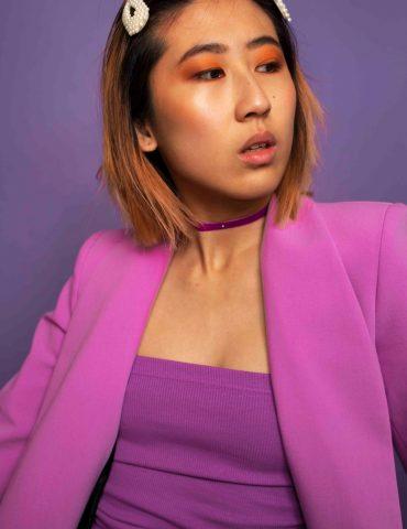 Purple plain small diamond choker